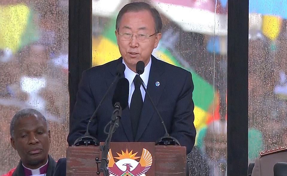 Le Sécrétaire Général des Nations Unies Ban Ki-Moon lors de son discours. Crédit photo: lefigaro.fr