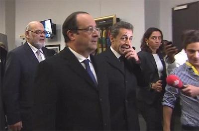 François hollande et Nicolas Sarkozy à leur arrivée au soccer city. Crédit photo: lefigaro.fr