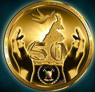 Logo du Cinquantenaire de l'Indépendance et de la Réunification du Cameroun. Crédit image: rjcpatriote.centerblog.net