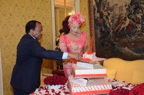 Paul Biya et son épouse Chantal Biya lors de la célébration hier de son 81ème anniversaire. Crédit image: prc.cm
